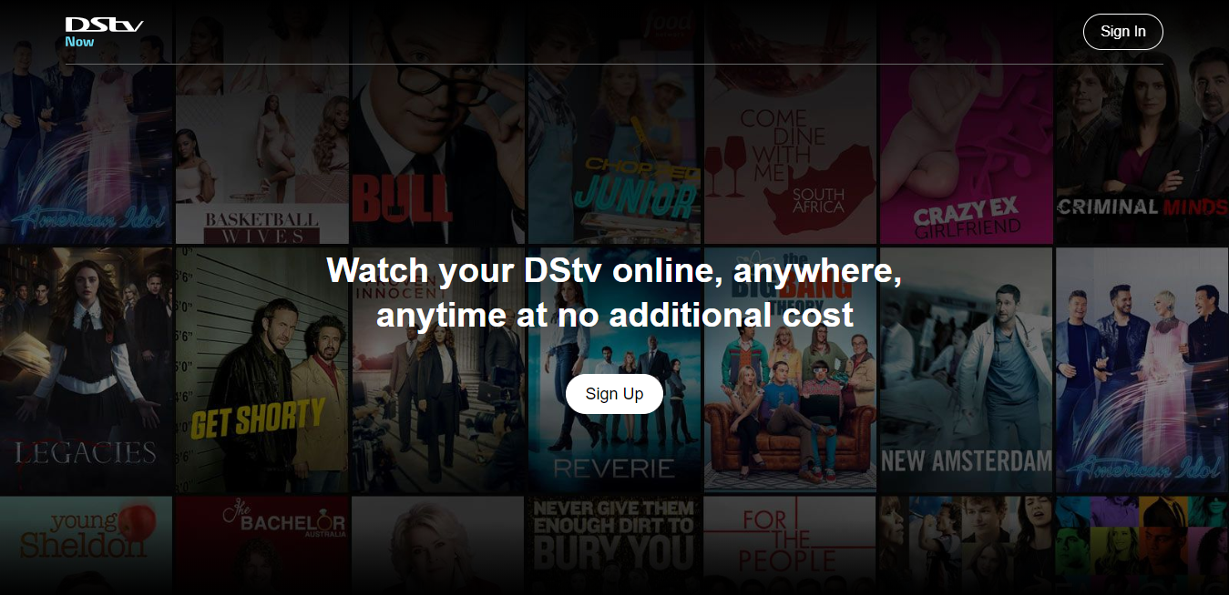 DSTV Now Homepage